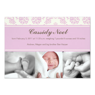 Damask with Ribbon Birth Announcement