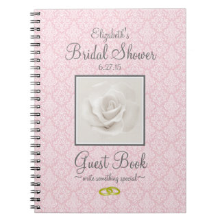Damask with Rose Shower Guest Book Customize Color