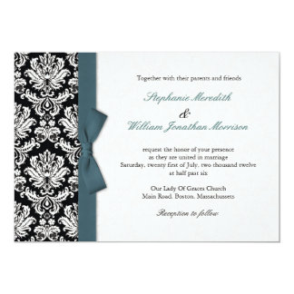 Damask With Teal Bow Wedding Invitation