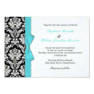 Damask With Turquoise Bow Wedding Invitation