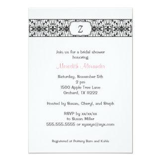Damask with your Monogram Bridal Shower Invitation