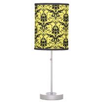 Damask yellow and black pattern desk lamp