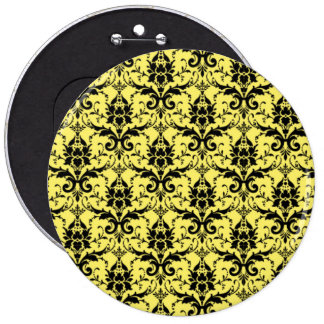 Damask yellow and black pattern pinback button