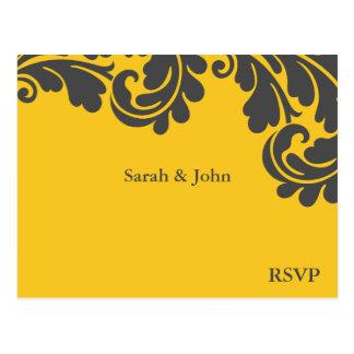 Damask Yellow and Grey Wedding RSVP Postcard