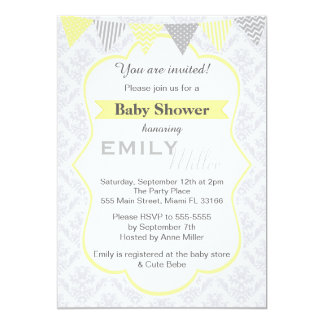 Damask Yellow Baby Shower Invitation Unisex
