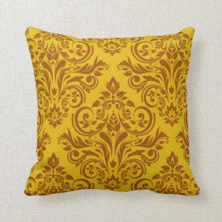Damask - yellow brown pillows