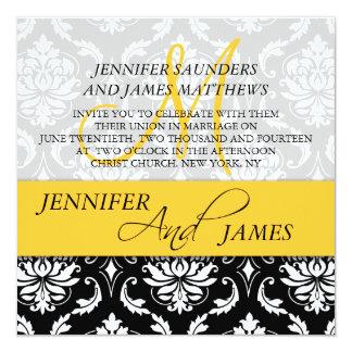Damask Yellow Monogram Name Wedding Invitations