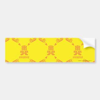 Damask Yellow-Orange Bumper Stickers