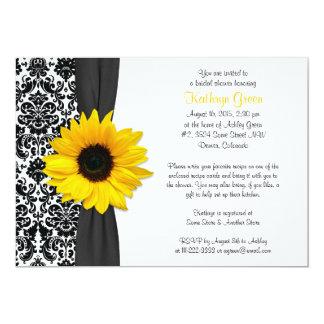 Damask Yellow Sunflower Recipe Bridal Shower Card