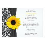 Damask Yellow Sunflower Recipe Bridal Shower 5x7 Paper Invitation Card