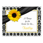 Damask Yellow Sunflower Recipe Card for the Bride Postcard