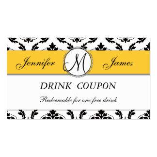 Damask Yellow Wedding Free Drink Coupon Card