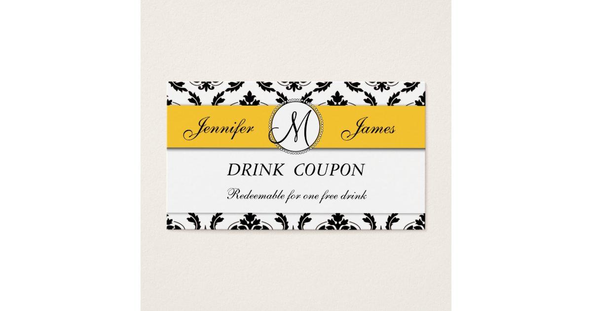 B Wedding Invitations Coupons: Damask Yellow Wedding Free Drink Coupon Card
