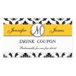 Damask Yellow Wedding Free Drink Coupon Card Business Card