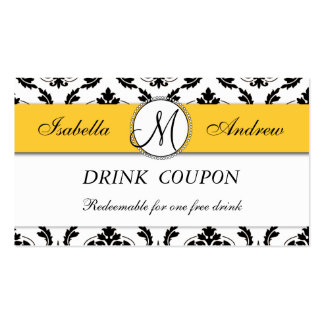 Damask Yellow Wedding Free Drink Coupon Card Double-Sided Standard Business Cards (Pack Of 100)