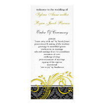 damask yellow Wedding program