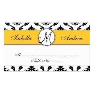 Damask Yellow Wedding Reception Place Card Business Cards