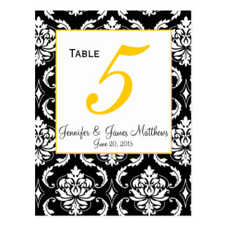 Damask Yellow Wedding Table Number Card
