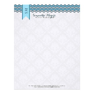Damasks And Chevron Blue And White Letterhead