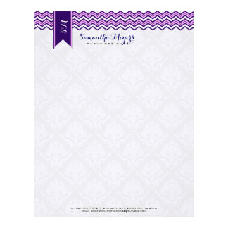 Damasks And Chevron Blue Pink And White Letterhead