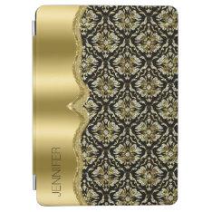 Damasks & Metallis Frame Black, Gold & Diamonds 2 Ipad Air Cover at Zazzle