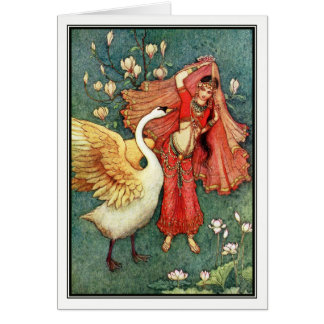 Damayanti and the Swan by Warwick Goble Card