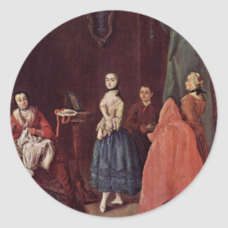 Dame At The Dressmaker By Longhi Pietro Round Stickers