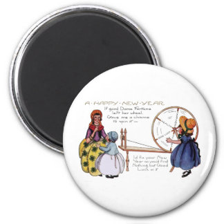 Dame Fortune's Lucky Spinning Wheel New Year Magnet