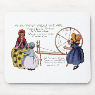Dame Fortune's Lucky Spinning Wheel New Year Mouse Pad