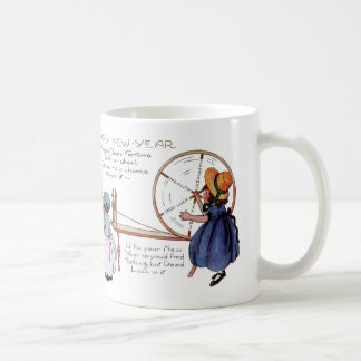 Dame Fortune's Lucky Spinning Wheel New Year Classic White Coffee Mug