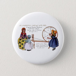 Dame Fortune's Lucky Spinning Wheel New Year Pinback Button