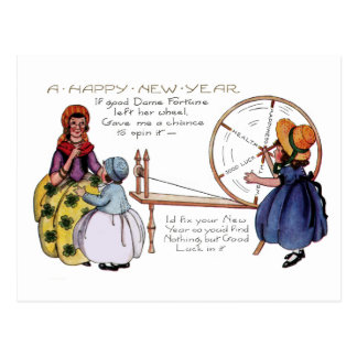 Dame Fortune's Lucky Spinning Wheel New Year Postcard