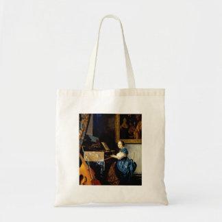 Dame on spinet by Johannes Vermeer Bag