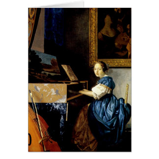Dame on spinet by Johannes Vermeer Card