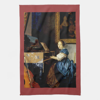 Dame on spinet by Johannes Vermeer Kitchen Towels
