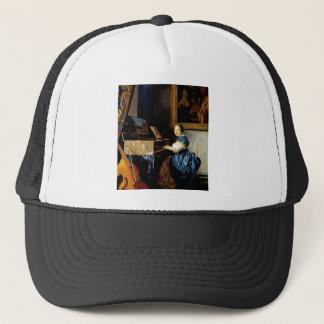 Dame on spinet by Johannes Vermeer Trucker Hat