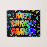 "[ Thumbnail: ""Damian"" First Name, Fun ""Happy Birthday"" Jigsaw Puzzle ]"
