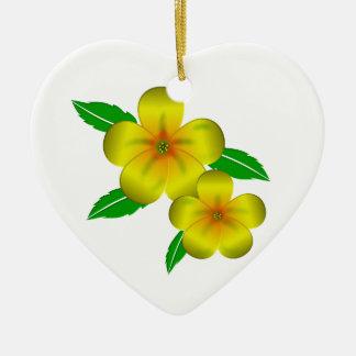 Damiana yellow flowers ceramic ornament