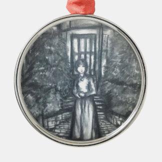 Damisela por la puerta adorno navideño redondo de metal
