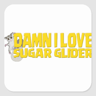 Damn-I-Love-Sugar-Glider Square Sticker