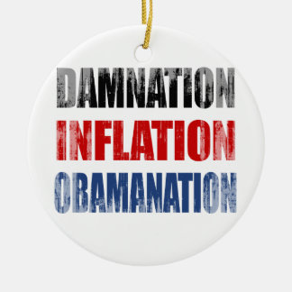 DAMNATION, INFLATION, OBAMANATION Faded.png Double-Sided Ceramic Round Christmas Ornament
