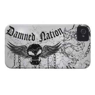 Damned Nation Black Skull iPhone 4 Cover