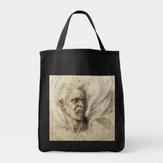 Damned Soul by Michelangelo, Renaissance Art Canvas Bag