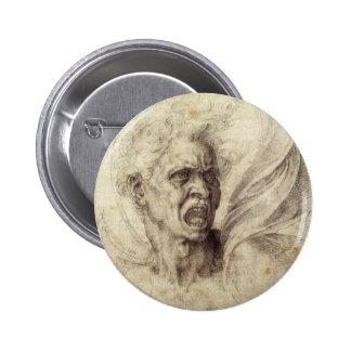 Damned Soul by Michelangelo, Renaissance Art Pinback Button