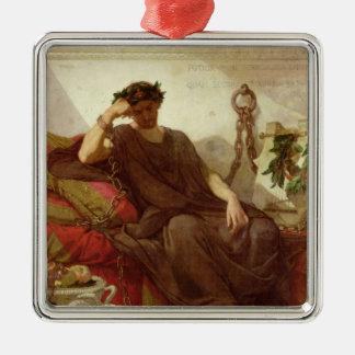 Damocles, 1866 adorno navideño cuadrado de metal