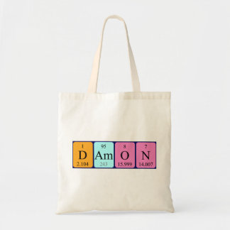 Damon periodic table name tote bag