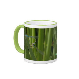 damselflies mating in the shape of heart. ringer mug
