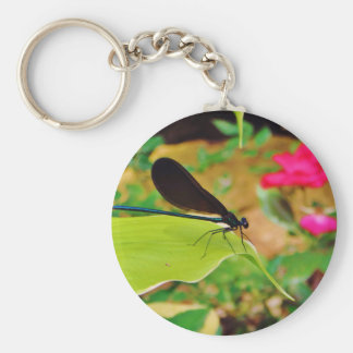 Damselfly and Rose Keychain