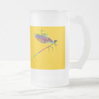 Damselfly Frosted Glass Beer Mug