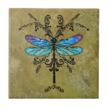 Damselfly Nouveau Ceramic Tiles